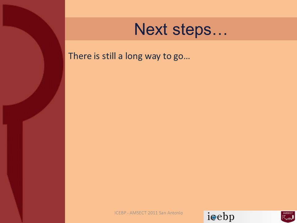 Next steps… ICEBP - AMSECT 2011 San Antonio There is still a long way to go…