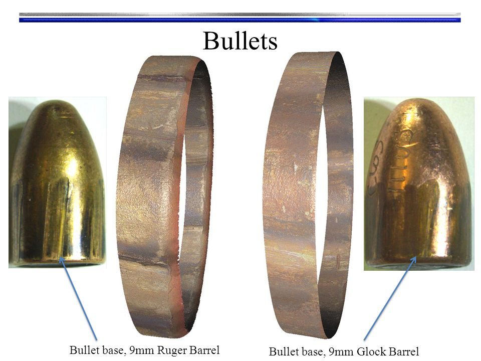 Bullet base, 9mm Ruger Barrel Bullets Bullet base, 9mm Glock Barrel