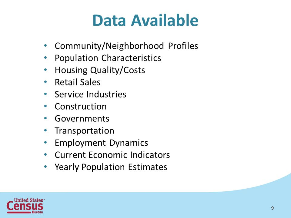 Data Available Community/Neighborhood Profiles Population Characteristics Housing Quality/Costs Retail Sales Service Industries Construction Governmen