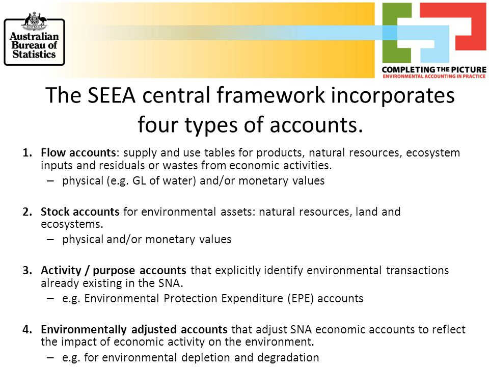 The SEEA central framework incorporates four types of accounts.