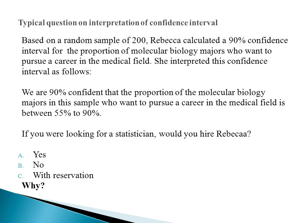 Based on a random sample of 200, Rebecca calculated a 90% confidence interval for the proportion of molecular biology majors who want to pursue a care