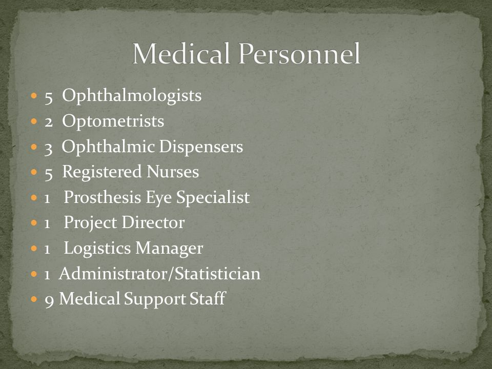 5 Ophthalmologists 2 Optometrists 3 Ophthalmic Dispensers 5 Registered Nurses 1 Prosthesis Eye Specialist 1 Project Director 1 Logistics Manager 1 Administrator/Statistician 9 Medical Support Staff