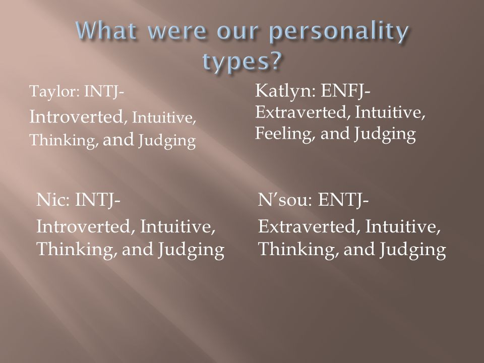 Taylor: INTJ- Introverted, Intuitive, Thinking, and Judging Katlyn: ENFJ- Extraverted, Intuitive, Feeling, and Judging Nic: INTJ- Introverted, Intuitive, Thinking, and Judging N'sou: ENTJ- Extraverted, Intuitive, Thinking, and Judging