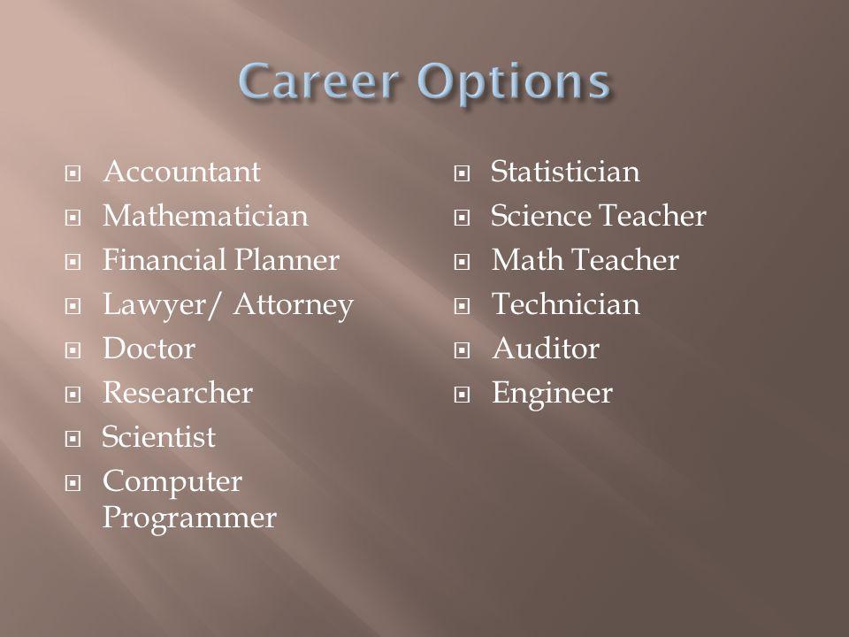  Accountant  Mathematician  Financial Planner  Lawyer/ Attorney  Doctor  Researcher  Scientist  Computer Programmer  Statistician  Science Teacher  Math Teacher  Technician  Auditor  Engineer