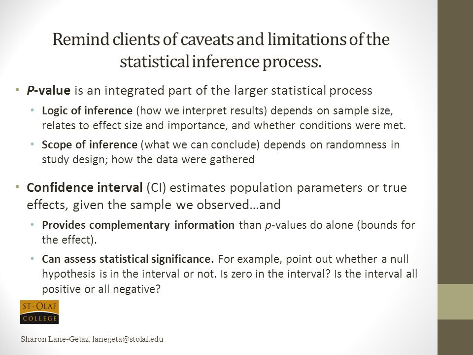 Remind clients of caveats and limitations of the statistical inference process. P-value is an integrated part of the larger statistical process Logic