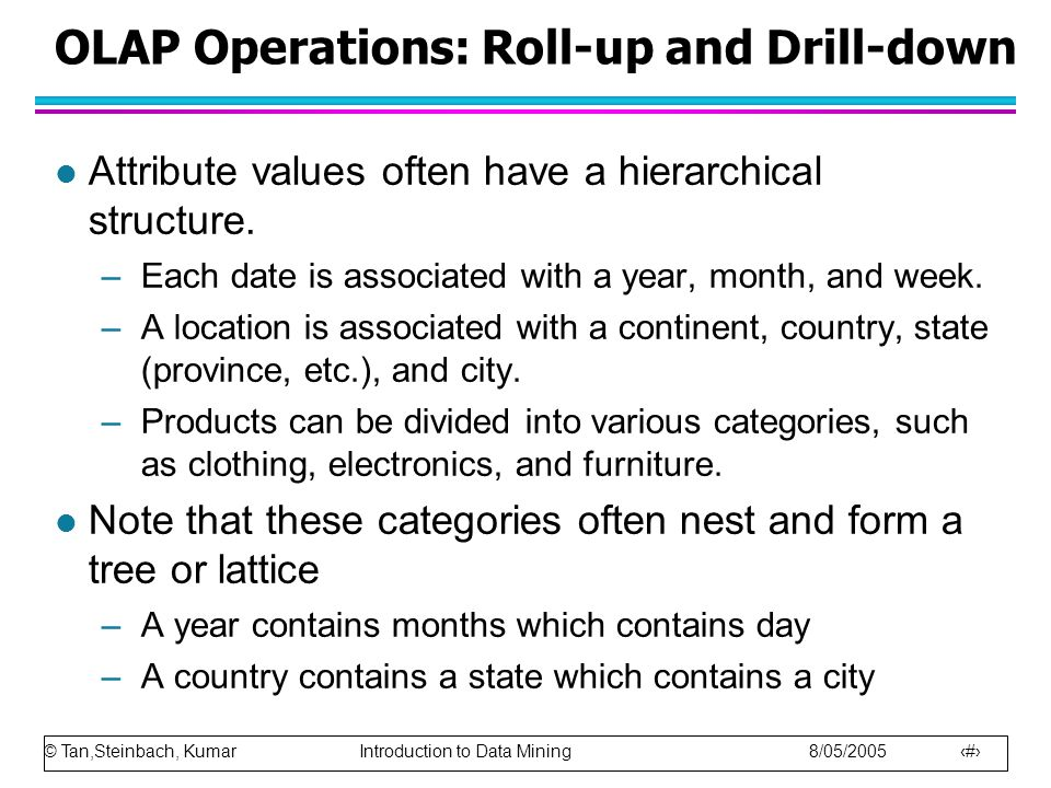 © Tan,Steinbach, Kumar Introduction to Data Mining 8/05/2005 40 OLAP Operations: Roll-up and Drill-down l Attribute values often have a hierarchical s