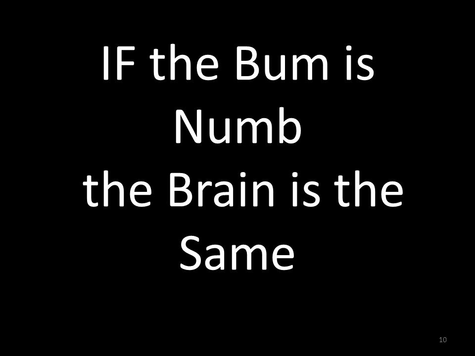 10 IF the Bum is Numb the Brain is the Same