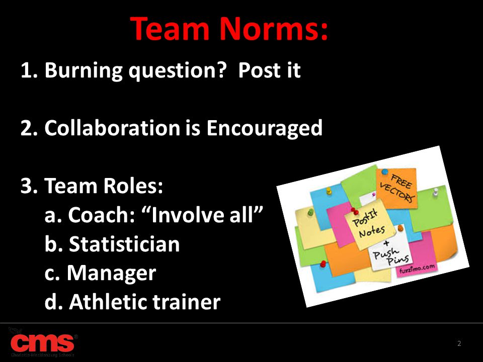 """2 1. Burning question? Post it 2. Collaboration is Encouraged 3. Team Roles: a. Coach: """"Involve all"""" b. Statistician c. Manager d. Athletic trainer Te"""