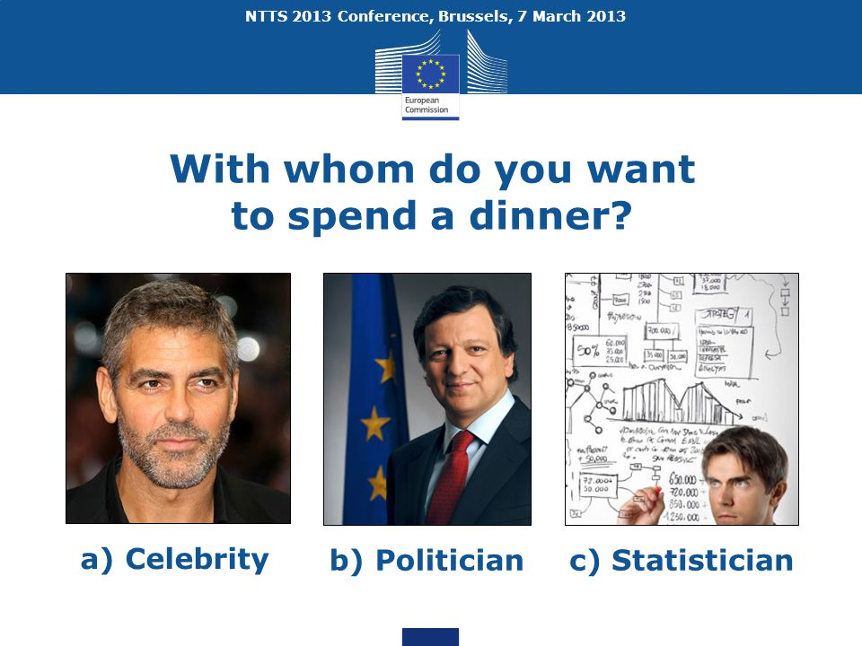 NTTS 2013 Conference, Brussels, 7 March 2013 With whom do you want to spend a dinner.