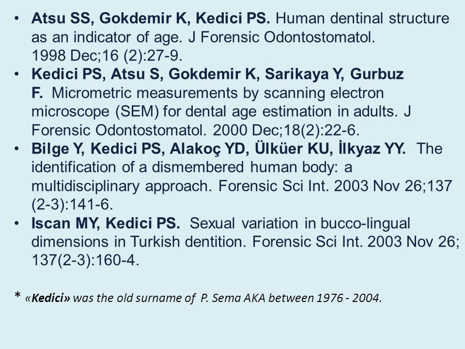 Atsu SS, Gokdemir K, Kedici PS.Human dentinal structure as an indicator of age.