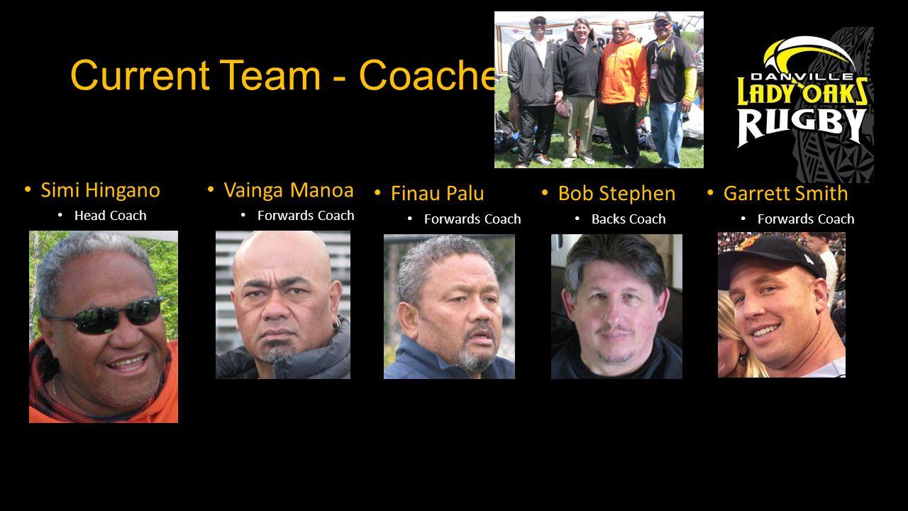 Current Team - Coaches Simi Hingano Head Coach Garrett Smith Forwards Coach Bob Stephen Backs Coach Vainga Manoa Forwards Coach Finau Palu Forwards Coach