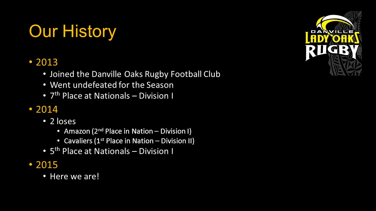 Our History 2013 Joined the Danville Oaks Rugby Football Club Went undefeated for the Season 7 th Place at Nationals – Division I 2014 2 loses Amazon