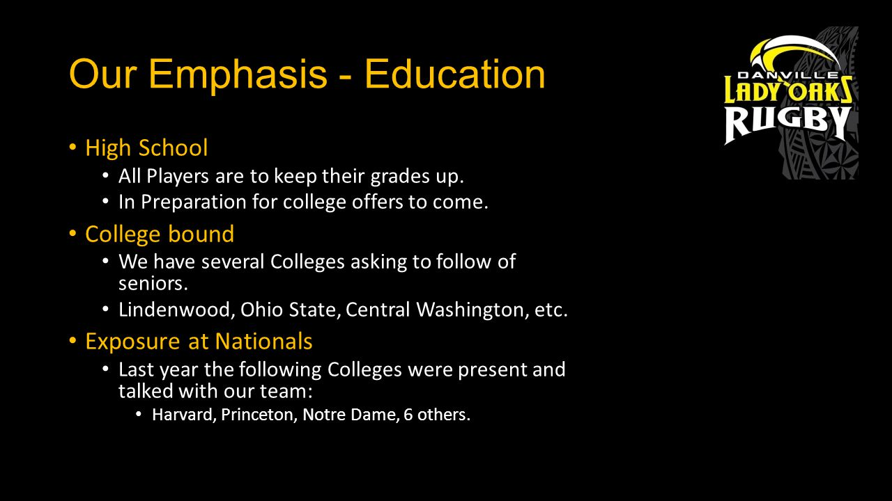 Our Emphasis - Education High School All Players are to keep their grades up.