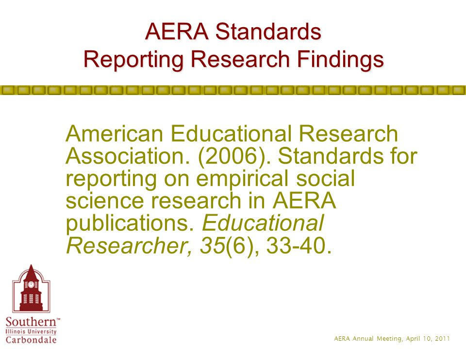 AERA Annual Meeting, April 10, 2011 American Educational Research Association.
