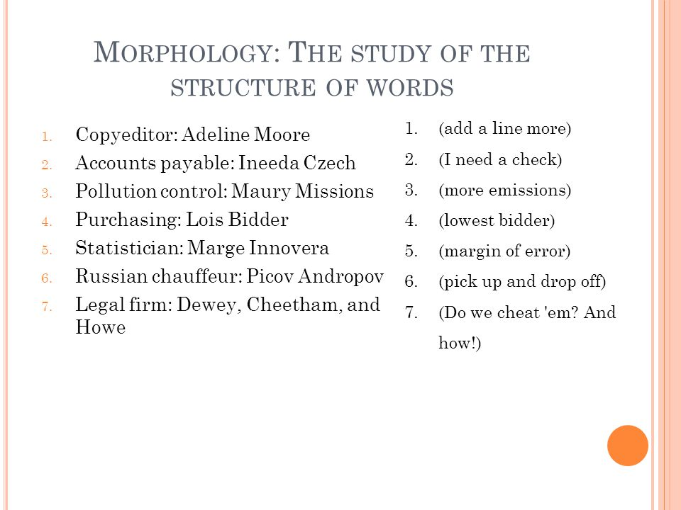 M ORPHOLOGY : T HE STUDY OF THE STRUCTURE OF WORDS 1.