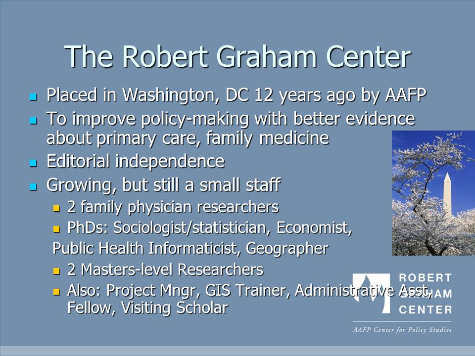 The Robert Graham Center Placed in Washington, DC 12 years ago by AAFP Placed in Washington, DC 12 years ago by AAFP To improve policy-making with better evidence about primary care, family medicine To improve policy-making with better evidence about primary care, family medicine Editorial independence Editorial independence Growing, but still a small staff Growing, but still a small staff 2 family physician researchers 2 family physician researchers PhDs: Sociologist/statistician, Economist, PhDs: Sociologist/statistician, Economist, Public Health Informaticist, Geographer 2 Masters-level Researchers 2 Masters-level Researchers Also: Project Mngr, GIS Trainer, Administrative Asst, Fellow, Visiting Scholar Also: Project Mngr, GIS Trainer, Administrative Asst, Fellow, Visiting Scholar