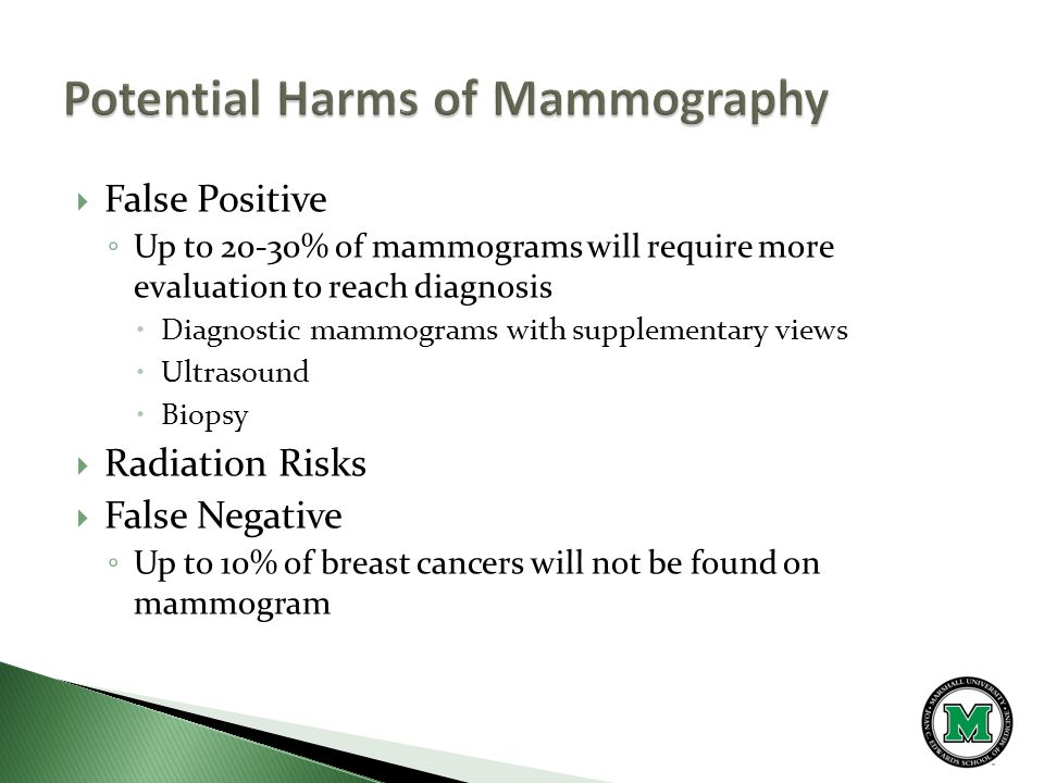 False Positive ◦ Up to 20-30% of mammograms will require more evaluation to reach diagnosis  Diagnostic mammograms with supplementary views  Ultrasound  Biopsy  Radiation Risks  False Negative ◦ Up to 10% of breast cancers will not be found on mammogram