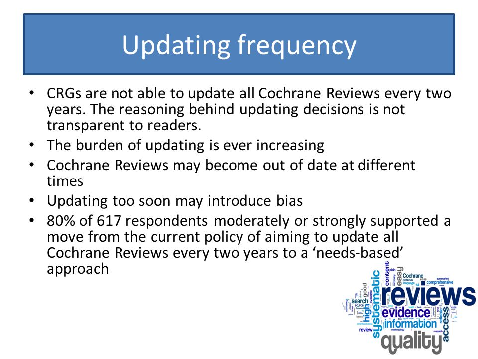 Prioritising Cochrane Reviews