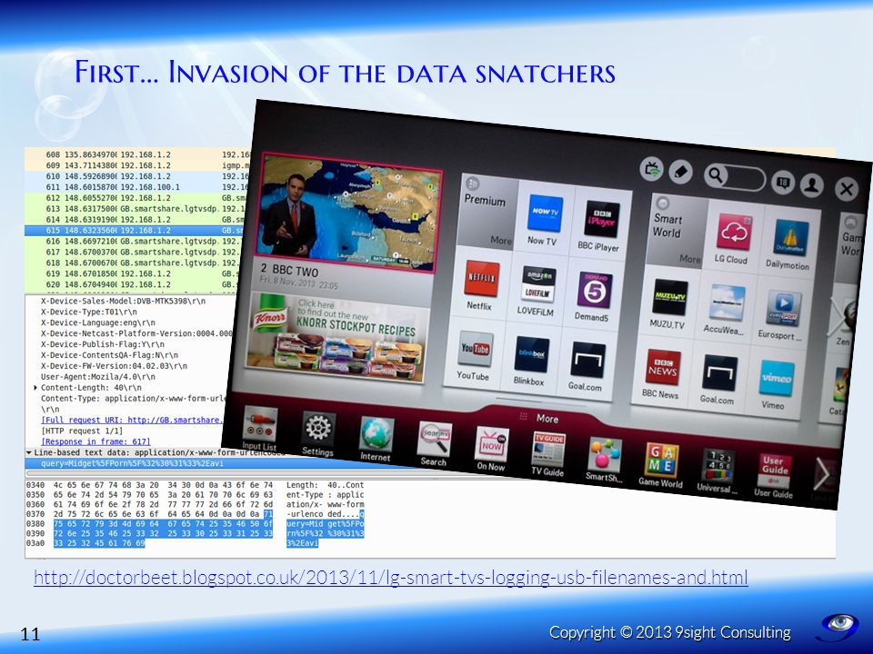 First… Invasion of the data snatchers 11 Copyright © 2013 9sight Consulting http://doctorbeet.blogspot.co.uk/2013/11/lg-smart-tvs-logging-usb-filenames-and.html