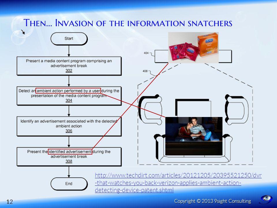 Then… Invasion of the information snatchers 12 Copyright © 2013 9sight Consulting http://www.techdirt.com/articles/20121205/20395521250/dvr -that-watches-you-back-verizon-applies-ambient-action- detecting-device-patent.shtml