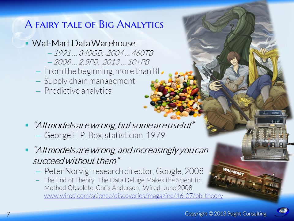  Wal-Mart Data Warehouse – 1991 … 340GB; 2004 … 460TB – 2008 … 2.5PB; 2013 … 10+PB – From the beginning, more than BI – Supply chain management – Pre