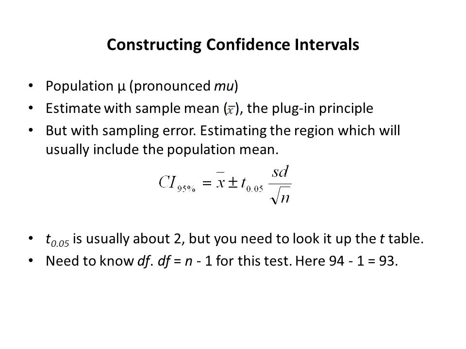 Constructing Confidence Intervals Population μ (pronounced mu) Estimate with sample mean ( ), the plug-in principle But with sampling error.