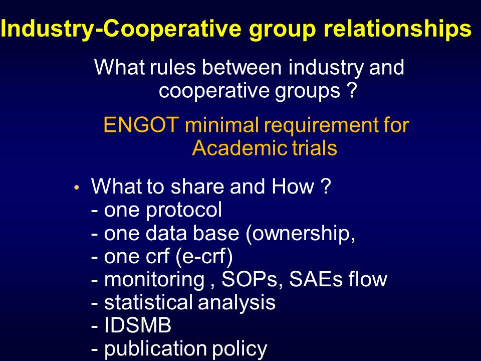 Industry-Cooperative group relationships What to share and How .