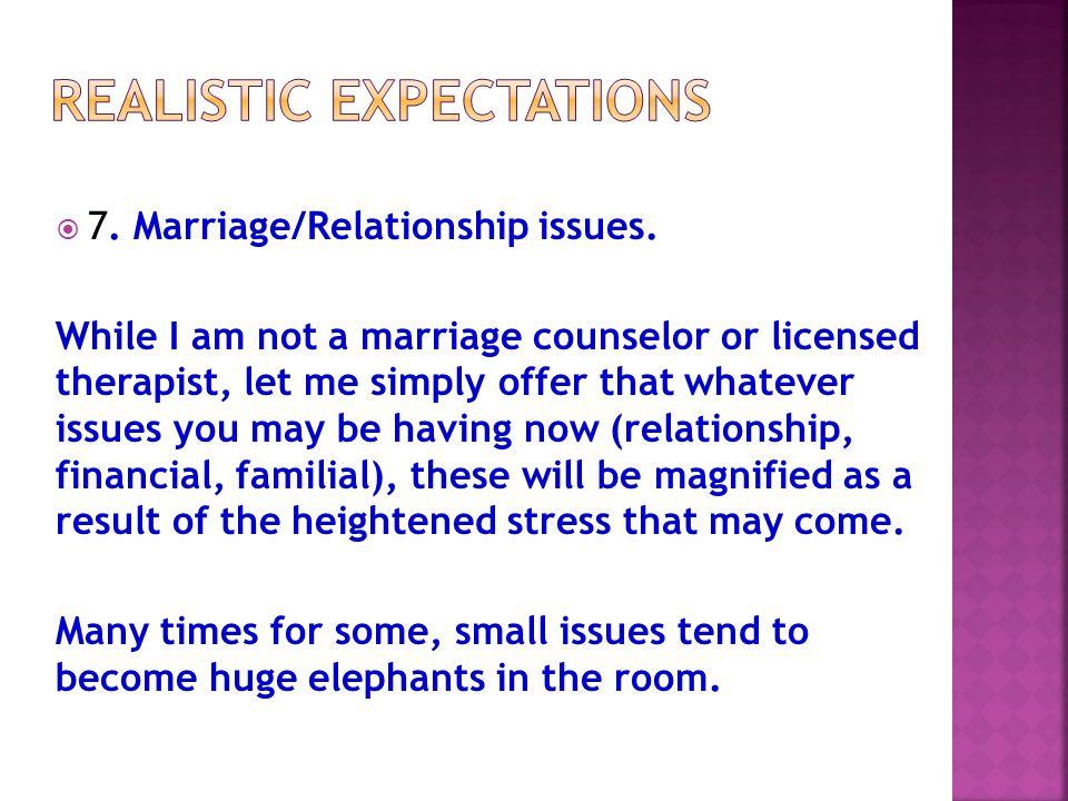  7. Marriage/Relationship issues.