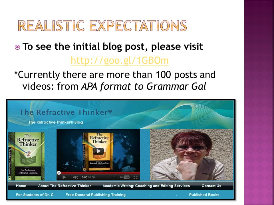  To see the initial blog post, please visit http://goo.gl/1GBOm *Currently there are more than 100 posts and videos: from APA format to Grammar Gal
