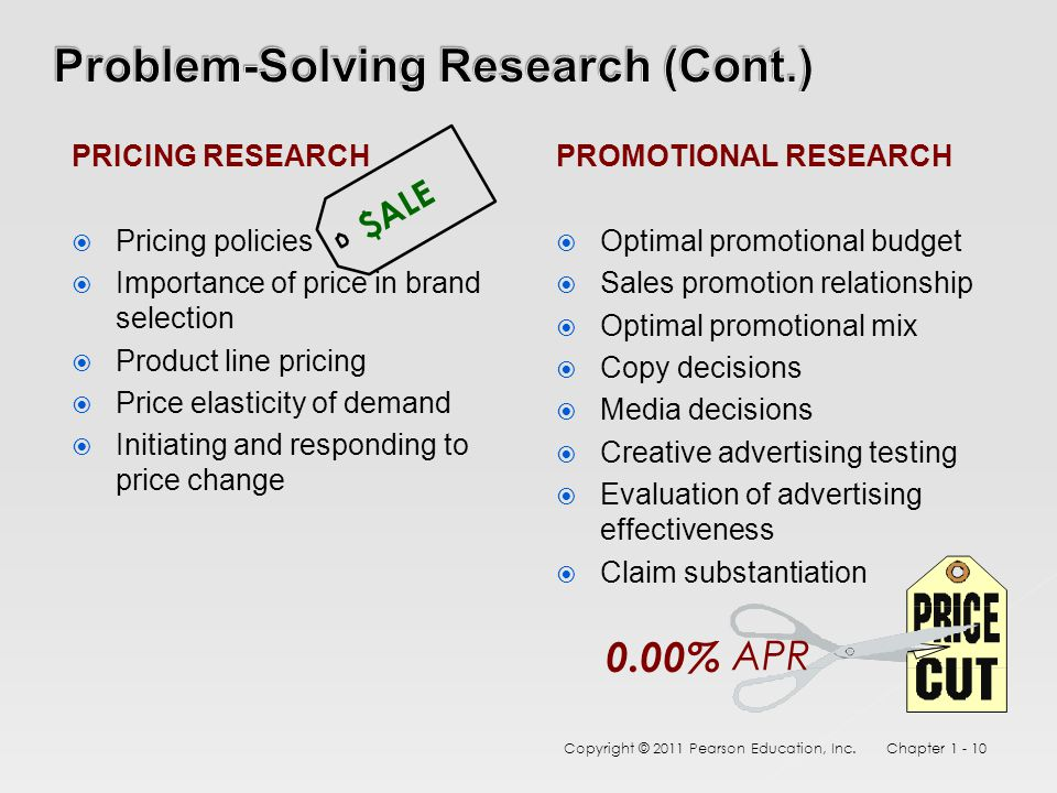 PRICING RESEARCH  Pricing policies  Importance of price in brand selection  Product line pricing  Price elasticity of demand  Initiating and responding to price change PROMOTIONAL RESEARCH  Optimal promotional budget  Sales promotion relationship  Optimal promotional mix  Copy decisions  Media decisions  Creative advertising testing  Evaluation of advertising effectiveness  Claim substantiation Copyright © 2011 Pearson Education, Inc.