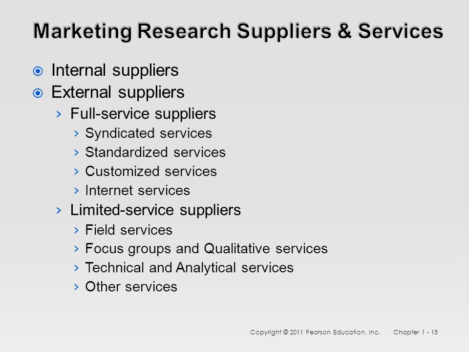  Internal suppliers  External suppliers › Full-service suppliers › Syndicated services › Standardized services › Customized services › Internet services › Limited-service suppliers › Field services › Focus groups and Qualitative services › Technical and Analytical services › Other services Copyright © 2011 Pearson Education, Inc.