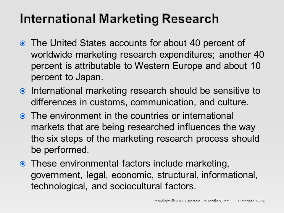  The United States accounts for about 40 percent of worldwide marketing research expenditures; another 40 percent is attributable to Western Europe and about 10 percent to Japan.
