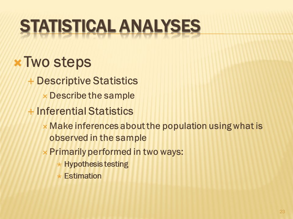  Two steps  Descriptive Statistics  Describe the sample  Inferential Statistics  Make inferences about the population using what is observed in the sample  Primarily performed in two ways:  Hypothesis testing  Estimation 23