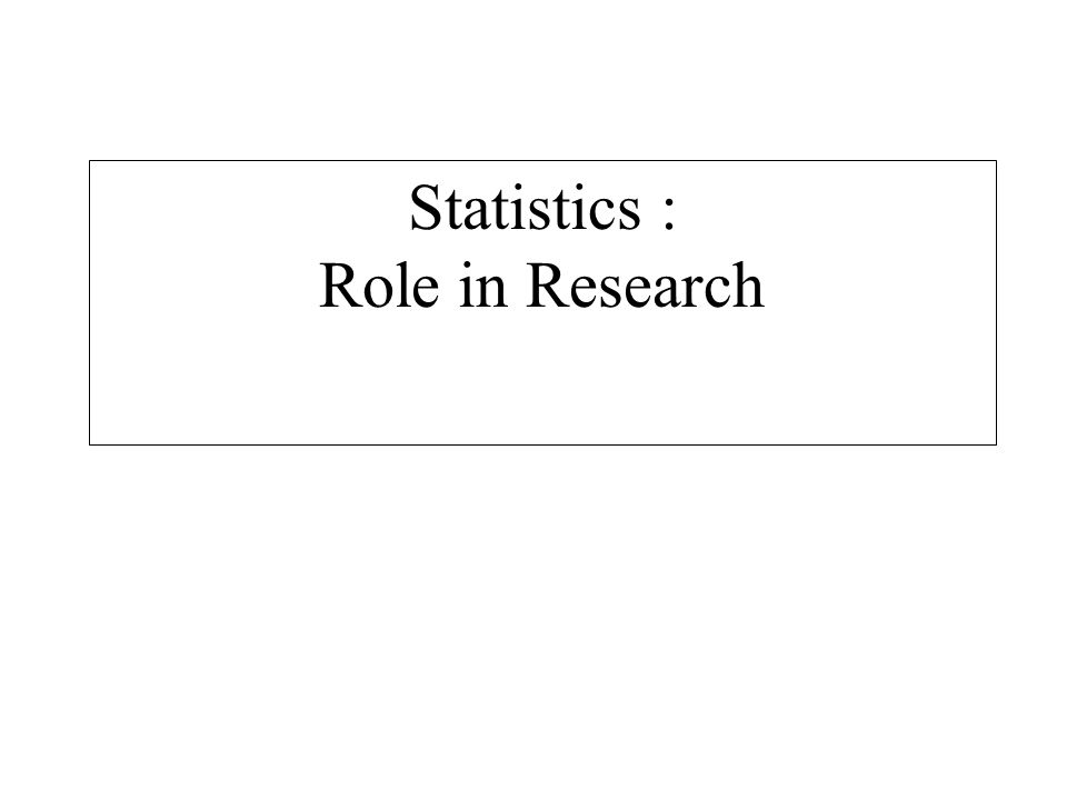 Statistics : Role in Research