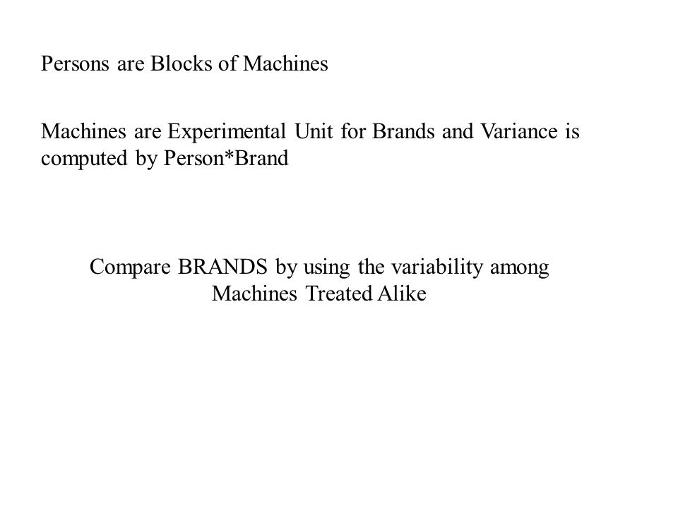 Machines are Experimental Unit for Brands and Variance is computed by Person*Brand Persons are Blocks of Machines Compare BRANDS by using the variabil