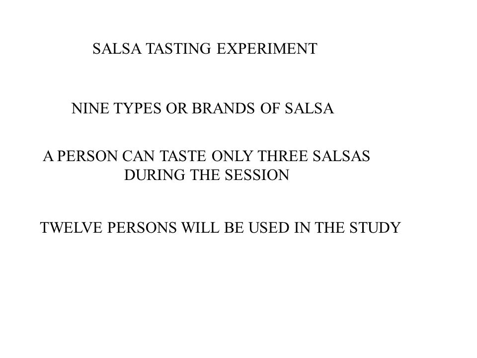 SALSA TASTING EXPERIMENT NINE TYPES OR BRANDS OF SALSA A PERSON CAN TASTE ONLY THREE SALSAS DURING THE SESSION TWELVE PERSONS WILL BE USED IN THE STUD