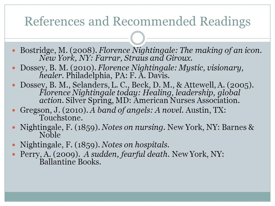 References and Recommended Readings Bostridge, M. (2008).