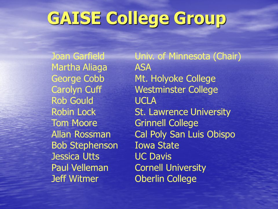 GAISE College Group Joan Garfield Univ. of Minnesota (Chair) Martha AliagaASA George CobbMt.