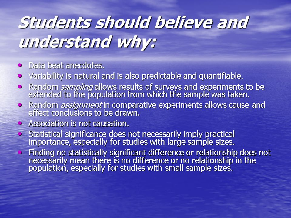 Students should believe and understand why: Data beat anecdotes.