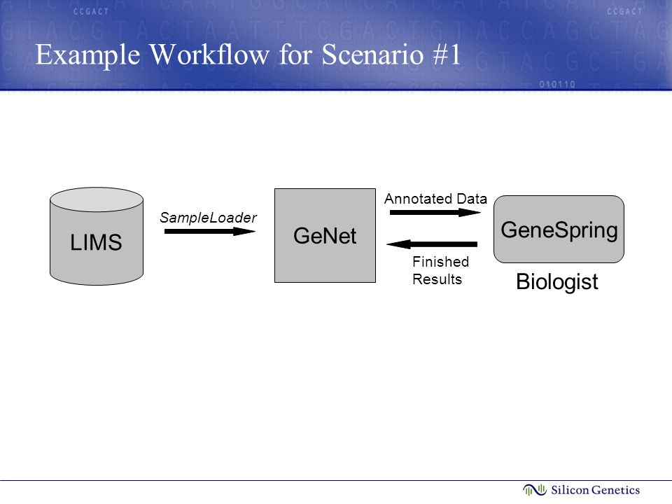 Example Workflow for Scenario #1 LIMS SampleLoader GeNet Biologist GeneSpring Annotated Data Finished Results