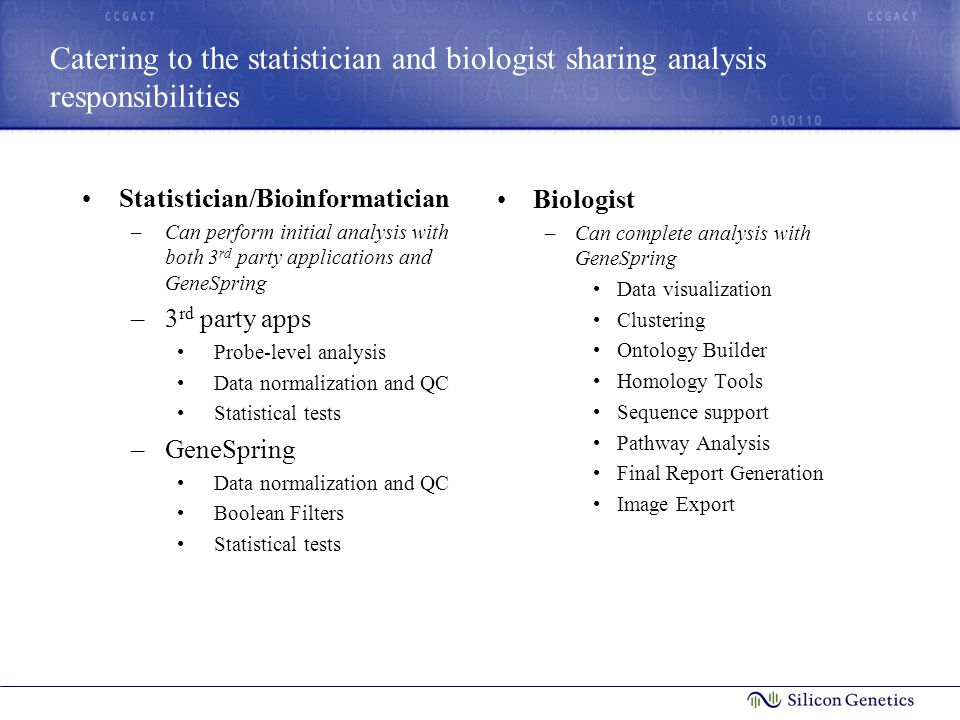 Catering to the statistician and biologist sharing analysis responsibilities Statistician/Bioinformatician –Can perform initial analysis with both 3 r