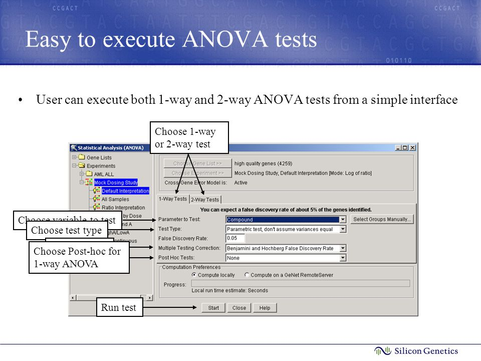 Easy to execute ANOVA tests User can execute both 1-way and 2-way ANOVA tests from a simple interface Choose 1-way or 2-way test Choose variable to testChoose test typeChoose MTCChoose Post-hoc for 1-way ANOVA Run test