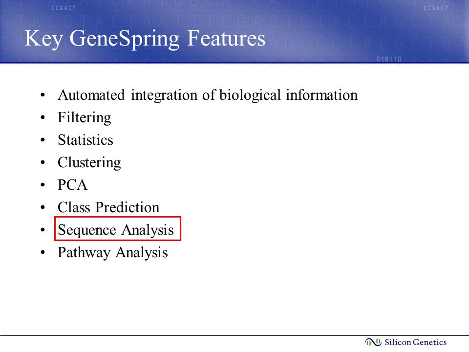 Key GeneSpring Features Automated integration of biological information Filtering Statistics Clustering PCA Class Prediction Sequence Analysis Pathway