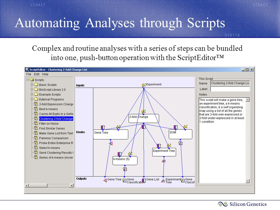 Automating Analyses through Scripts Complex and routine analyses with a series of steps can be bundled into one, push-button operation with the Script