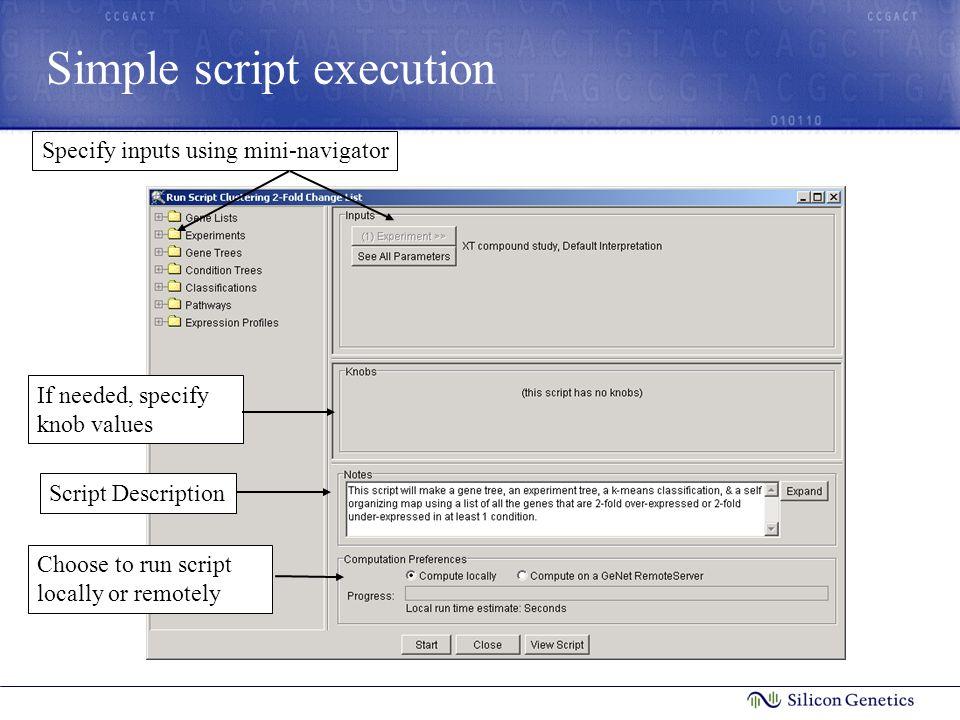 Simple script execution Choose to run script locally or remotely Specify inputs using mini-navigatorScript DescriptionIf needed, specify knob values