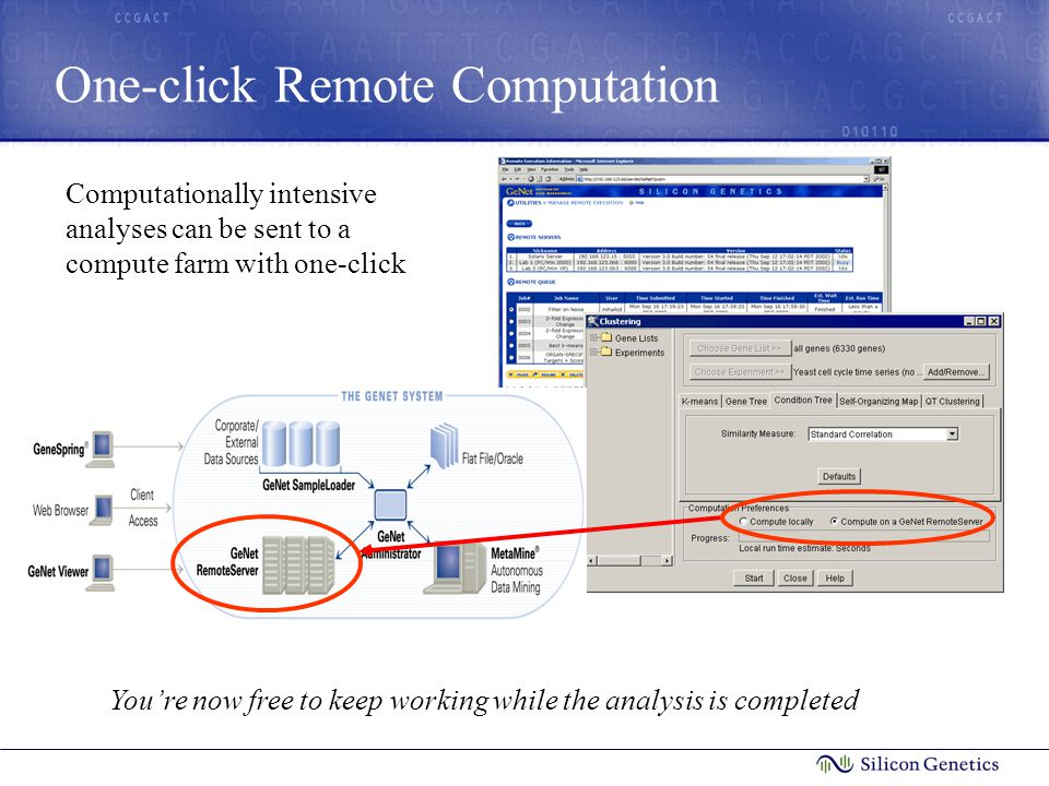 One-click Remote Computation Computationally intensive analyses can be sent to a compute farm with one-click You're now free to keep working while the analysis is completed