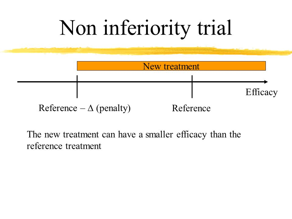Non inferiority trial Efficacy Reference Reference –  (penalty) New treatment The new treatment can have a smaller efficacy than the reference treatment