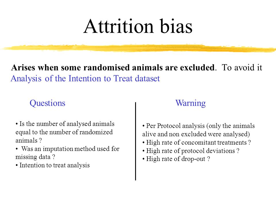 Attrition bias Arises when some randomised animals are excluded.