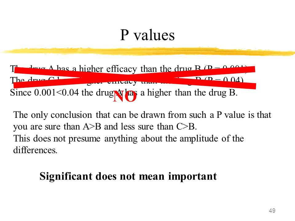 49 P values The drug A has a higher efficacy than the drug B (P = 0.001) The drug C has a higher efficacy than the drug B (P = 0.04) Since 0.001<0.04 the drug A has a higher than the drug B.
