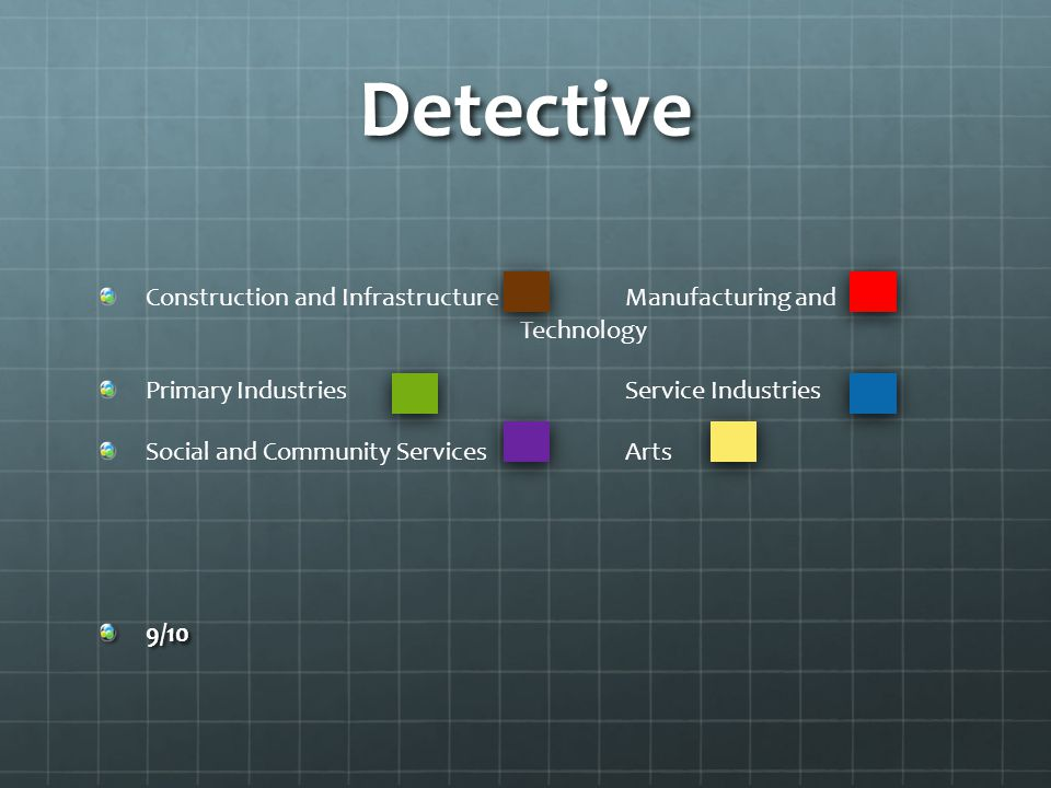 Detective Construction and Infrastructure Manufacturing and Technology Primary Industries Service Industries Social and Community ServicesArts9/10
